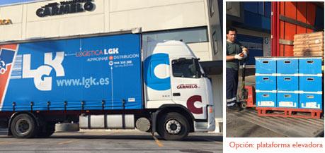 camion de trasnporte de mercancías de 2 ejes con plataforma